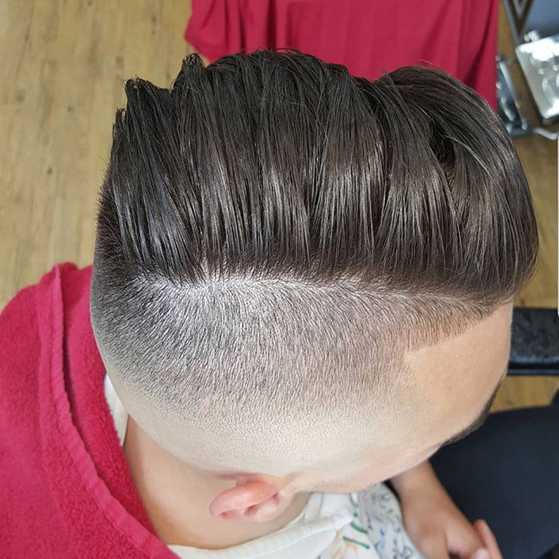 Side parting with skin fade.